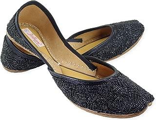 Fulkari Women's Genuine Soft Leather Bite and Pinch Free Phulakri Glow Flat Punjabi Jutti Mojari Ethnic Jutis