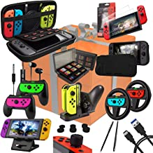Switch Accessories Bundle - Orzly Geek Pack for Nintendo Switch: Case & Screen Protector, Joycon Grips & Racing Wheels, Switch Controller Charge Dock, Comfort Grip Case & more .. - JetBlack