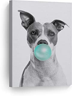 Smile Art Design Cute Pitbull Dog Animal Bubble Gum Art Teal Blue Canvas Print Black and White Wall Art Home Decoration Pop Art Living Room Kids Room Decor Nursery Ready to Hang Made in The USA 22x15