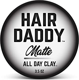 HAIR DADDY All Day Clay, Matte Hair Styling Paste For Men, Strong Hold That Lasts All Day, Zero Shine Clay Paste For All H...