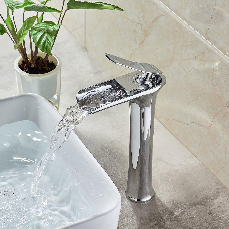 KUNGYO Tall Vessel Basin Faucet Single Lever Wide Spout Washroom Bathroom Sink Tap Leak Proof Valve Mute Aerator Water Saving Lead Free Chrome Finish