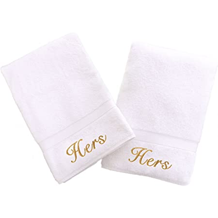 Amazon Com Linum Home Textiles Personalized His And Hers Hand Towel Set Of 2 Home Kitchen