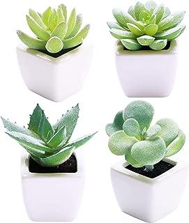 Sophia's Garden 4 Pots - Small Artificial Succulent Plants - Fake Mini Suculentas Pot for Home Decoration - Great for Office, Kitchen Counter, Dorm Decor (Ceramic Green Succulents)