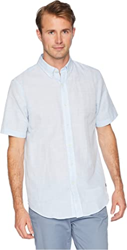 Short Sleeve Cotton Linen Woven Shirt