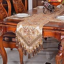 Yrhmdecor Modern Jacquard Floral Table Runner Handmade Tassel Embroidered Table Flag Khaki 13 by 96 Inch