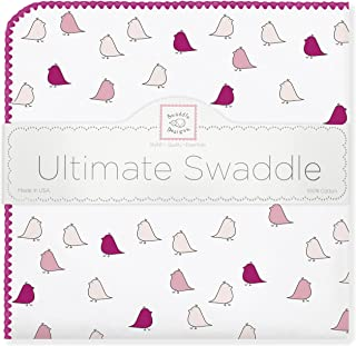 SwaddleDesigns Ultimate Swaddle, X-Large Receiving Blanket, Made in USA Premium Cotton Flannel, Very Berry Jewel Tone Little Chickies (Mom's Choice Award Winner)