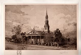 St. Paul's Church, New York City: Robert Shaw Etching, Signed & Numbered Artist's Proof, Chine-colle with remarque, 1906
