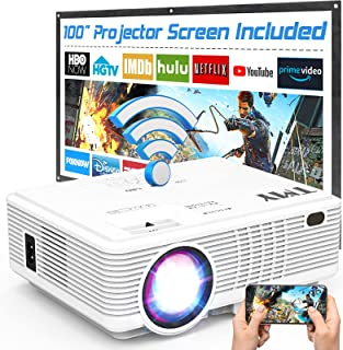 TMY WiFi Projector with 100″ Screen, 180 ANSI Brightness [Over 7500 Lumens], 1080P Full HD Enhanced Portable Projector Com...