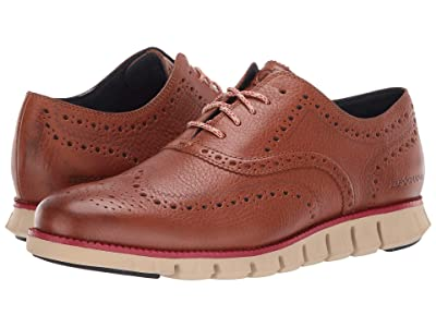 Cole Haan Zerogrand Wingtip Oxford Leather (Habana Leather/Tango Red/Curds & Whey) Men