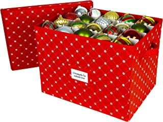 Christmas Ornament Storage Box with Lid-Store up to 80 Ornaments and Holiday Decor, a Storage Cube and Christmas Box Container to Preserve Holiday Decorations Tear Proof Polypropylene Non-Woven Fabric