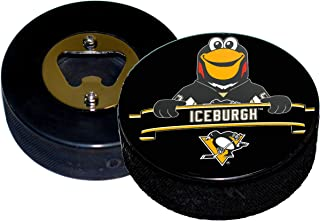 EBINGERS PLACE Pittsburgh Penguins Mascot Iceburgh Hockey Puck Bottle Opener