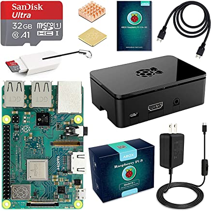 $79 Get ABOX Raspberry Pi 3 B+ Complete Starter Kit with Model B Plus Motherboard 32GB Micro SD Card NOOBS, 5V 3A On/Off Power Supply, Premium Black Case, HDMI Cable, SD Card Reader with USB A&USB C, Heatsink