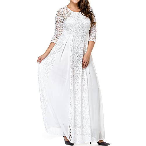9b06aed00101 GMHO Women s Plus Size 3 4 Sleeve Lace Maxi Bridesmaid Dress Gown