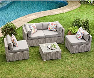 COSIEST 5-Piece Outdoor Furniture Set Warm Gray Wicker Sectional Sofa w Thick Cushions, Glass Coffee Table, 4 Floral Fantasy Pillows for Garden, Pool, Backyard