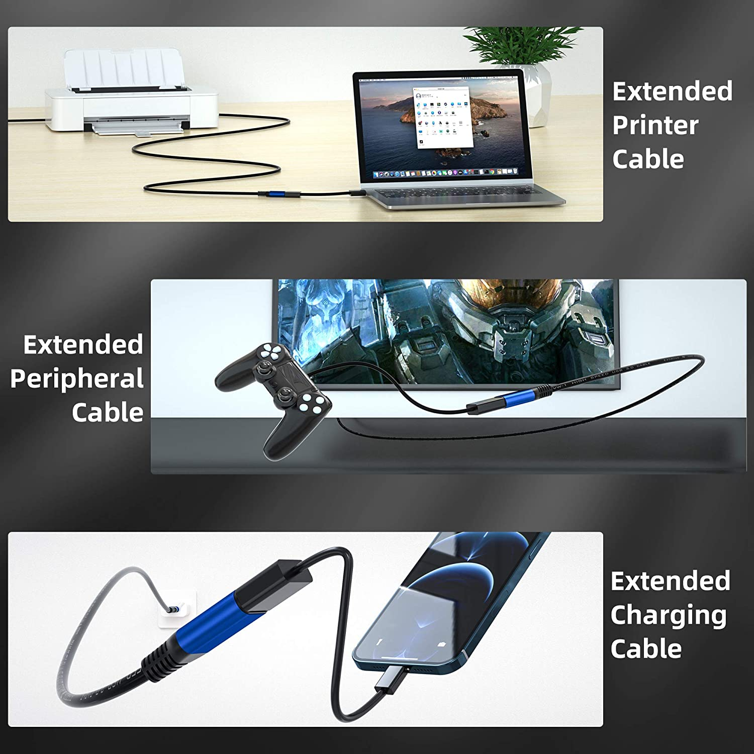 USB 3.0 Extension Cable 1ft, Weetcoocm Durable Braided USB 3.0 Extension Cable - A-Male to A-Female for USB Flash Drive, Card Reader, Hard Drive, Keyboard,Mouse,Playstation, Xbox, Printer, Camera