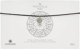 Dogeared Mandala Small Center Circle Choker Necklace on Black Leather Cord