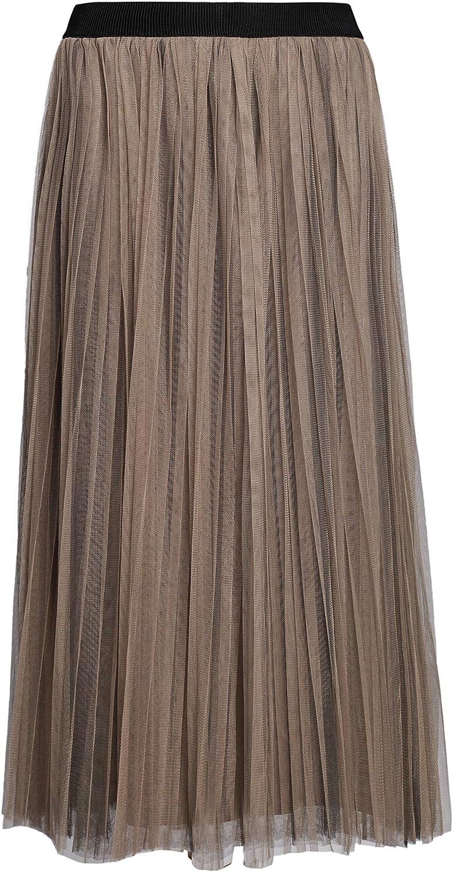 PYW Womens Long Pleated Tulle Skirt A Line Elastic Waist Mesh Tulle Midi Skirt (Black, M)