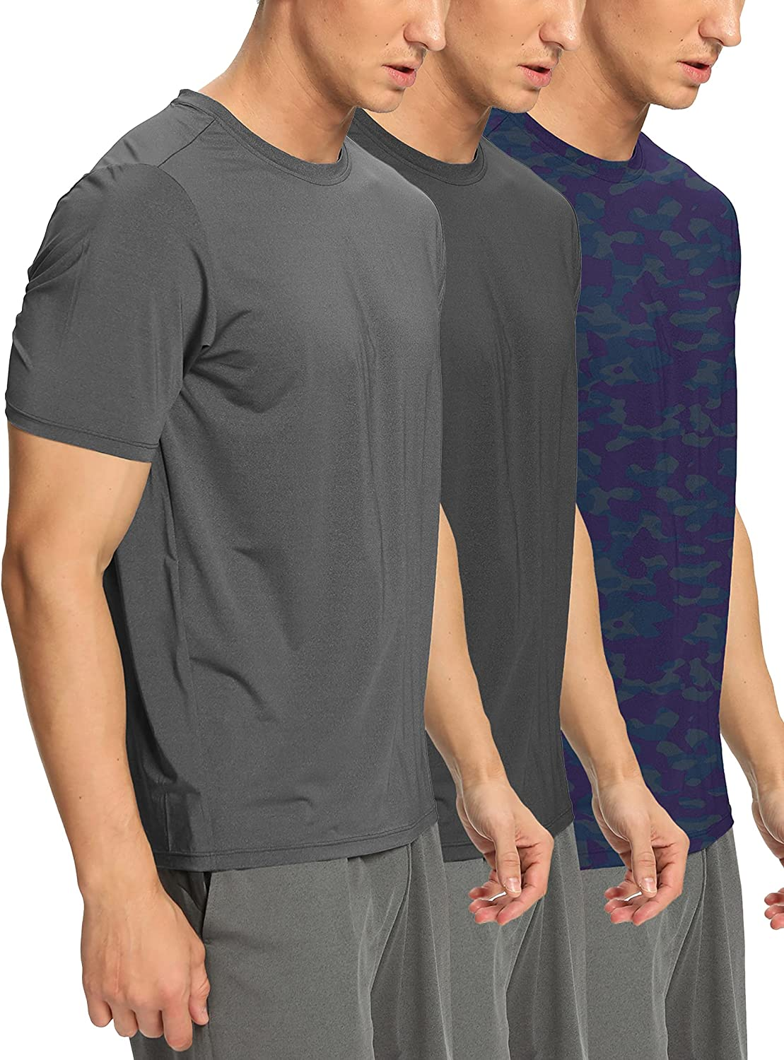 Bombing new work Men's 3 Pack T-Shirt Training Dry Sport Outlet ☆ Free Shipping Tee Workou Fit Neck Crew
