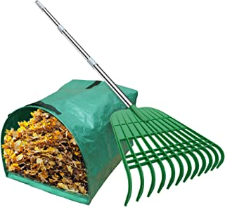 Gardzen 12 Tines Gardening Leaf Rake, Lightweight Steel Handle, Detachable, Ideal Camp Rake, Comes with Dustpan-Type Garde...