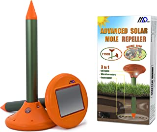Maxi-D Solar Mole Snake Gopher Vole Repellent Ultrasonic Pet Safe with LED Lights Repeller Safe for Dogs Sonic Spike for Outdoors Garden Lawn Yard (Pack of 2)