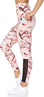BSP Women's High Waist Leggings - Pattern Workout Pants with Mesh Detail