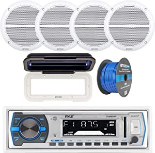 """Pyle Single DIN Marine Boat USB/SD Bluetooth Stereo Receiver Bundle Combo with Waterproof Cover, 4 x Enrock 6.5"""" Full-Rang... photo"""