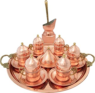 Handmade Copper Turkish Coffee Set of 6 Cups with Cezve, Saucers, Serving Bowl with Tray – Decorative Handcrafted Ottoman Style Demitasse 28pc Gift Pack Kit with Armenian Espresso Mugs, Arabic Dish
