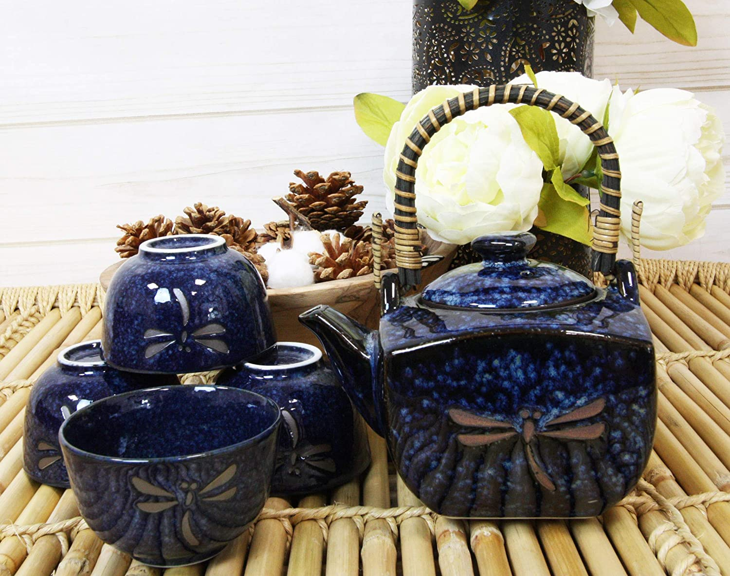 Ebros Gift Japan Made Traditional Tombo Dragonfly Midnight Blue