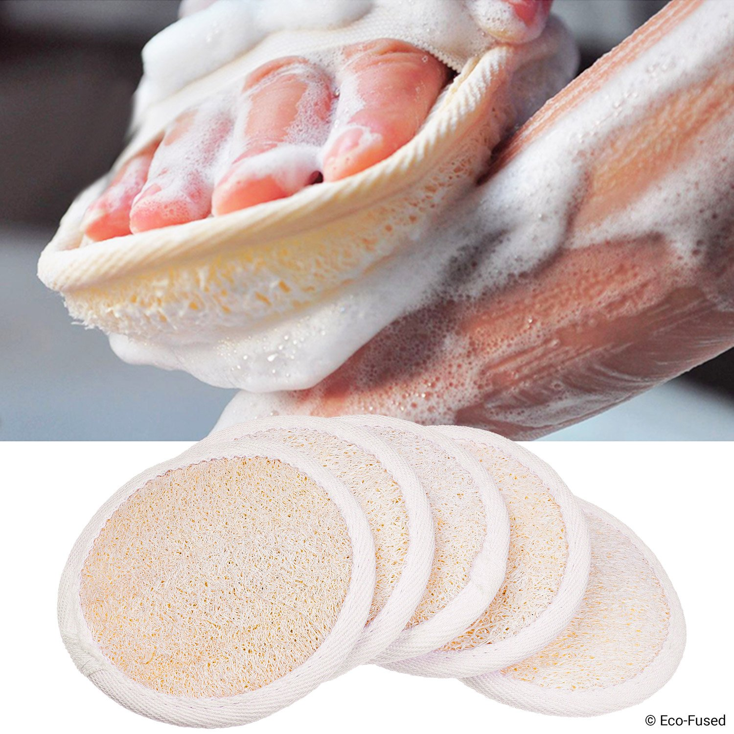 Loofah Pads (Pack of 5) - Exfoliating Scrubbing Sponges - Natural Luffa Material - Essential Skin Care Product - For Shower/Bath - Fibrous Texture - Perfect for Face/Body Wash - Wet It and Apply Soap