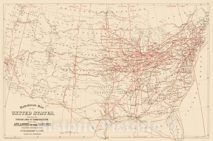 Historic Map 1884 Railroad Map U S Vintage Wall Art 24in X 16in Posters Prin