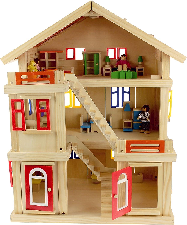 United Entertainment - Hlzernes Villa Puppenhaus mit Puppen und Mbeln - 75x56x43.5 cm