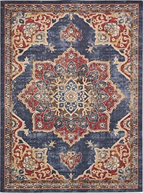 Unique Loom Utopia Collection Traditional Medallion Vintage Warm Tones Dark Blue Area Rug (9' 0 x 12' 0)