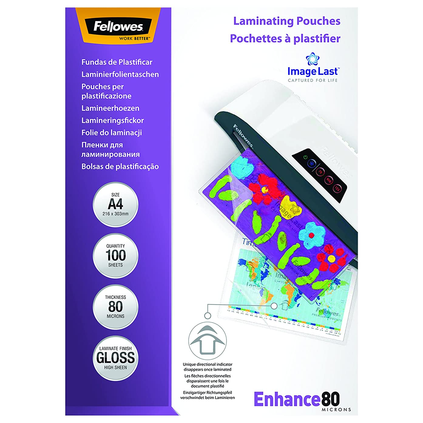 Fellowes ImageLast A4 Laminating Pouch, 80 Micron - Pack of 100,Transparent