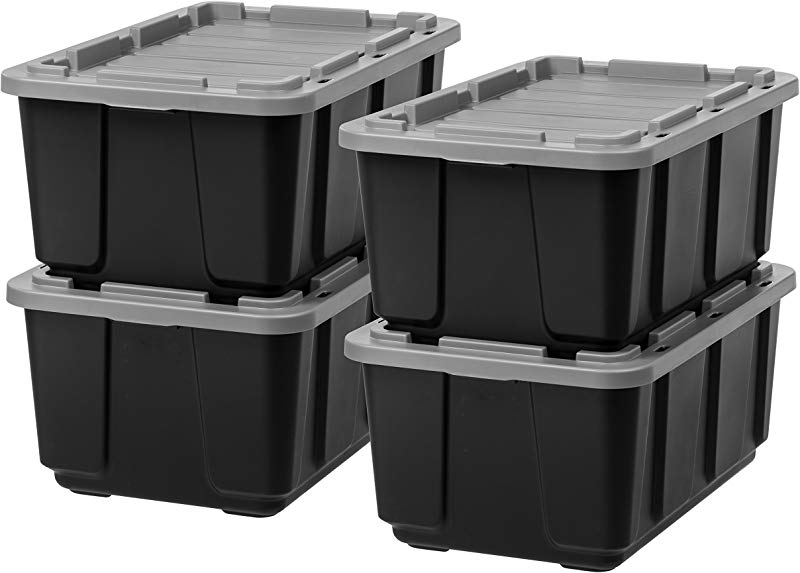 IRIS 27 Gallon Utility Tough Tote 4 Pack Black With Gray Lid