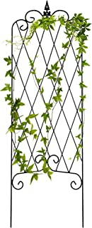 Best Choice Products 46x15-inch Iron Rustproof Lattice Garden Trellis Fence Panel for Climbing Plants, Vines, Ivy, Clematis, and More, w/Finial, Black