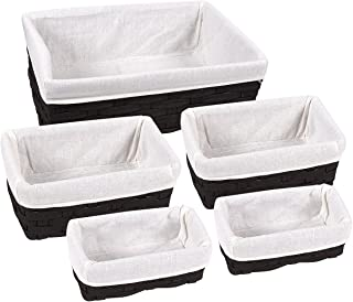 Juvale Nesting Basket - 5-Piece Utility Storage Baskets, Wicker Decorative Organizing Baskets, Baskets Shelves for Kitchen, Bathroom Bedroom - 2 Small, 2 Medium, 1 Large (Black)