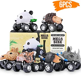 Pull Back Cars 6 Pack, Mini Dino Cars with Big Tire Pull Back Animals Vehicle Set for 2-10 Year Old Boys Girls Great Toys Gift Party Favor for Kids