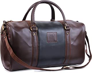 Hyper Adam 18 Inch/ 20 Ltrs Leather rite Travel Duffle Bag Travel Bags for Luggage Duffle Bags for Travel (Brown, Black)
