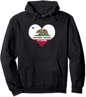 I Love Petaluma, California - CA Republic Flag Heart Pullover Hoodie