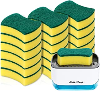 19 Pack Kitchen Clean Sponges for Dish,1 Pack Dish Soap Dispenser for Kitchen, Soap Dispenser and Sponge Holder 2 in1, Cou...