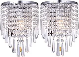 HOMWEERUN A Pair Left Right 2Pcs E12 Modern K9 Crystal Mirror Stainless Steel Wall Lights Wall Lamps Sconce Night Light Lamps Fixtures Lights with Switch for Hallway Bedside Living Room (Chrome)