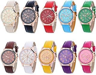 Geneva Women's 10 PCS Watches Crystal Wristwatch Set Leather Band