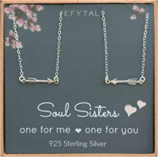 Best Friend Necklace Set, Sterling Silver Arrow Link 2 Matching Friendship Necklaces, Two BFF Gift Ideas
