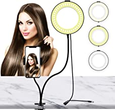LIERONT 6 inch Selfie Ring Light with Phone Holder Stand, Desk Ring Light for Table Makeup, Live Stream & YouTube Video, 3...