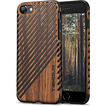 TENDLIN Compatible with iPhone SE 2020 Case/iPhone 8 Case/iPhone 7 Case Wood Grain Outside Soft TPU Silicone Hybrid Slim Case (Wood & Leather)