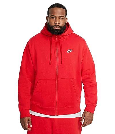 Nike Big Tall NSW Club Hoodie Full Zip (University Red/University Red/White) Men