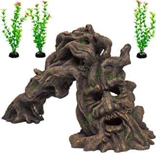 Fish Tank Accessories – A Unique Aquarium Decoration Set- Fish Tank Ornament and Plants (3 piece) – Resin 'Tree Monster' a...