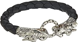 Legends Naga 8mm Double Head Bracelet in Black Leather