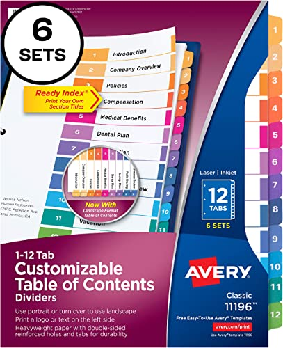 2021 Avery Ready Index 12-Tab Binder Dividers, Customizable Table of Contents, high quality Multicolor Tabs, 6 sale Sets (11196) online sale