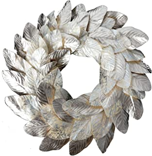 idyllic Champagne Magnolia Leaves Wreath 22 Inches Farmhouse Decoration Adjustable Vintage Front Door Wreath for Home Decor, Centerpiece
